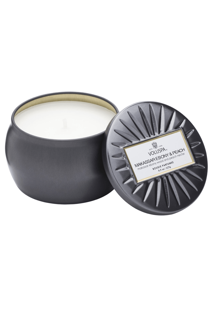 Petite Decorative Tin Candle - Ebony & Peach