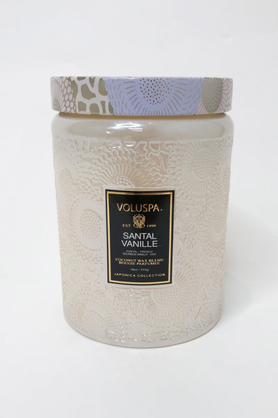 Large Embossed Glass Jar Candle - Santal Vanille