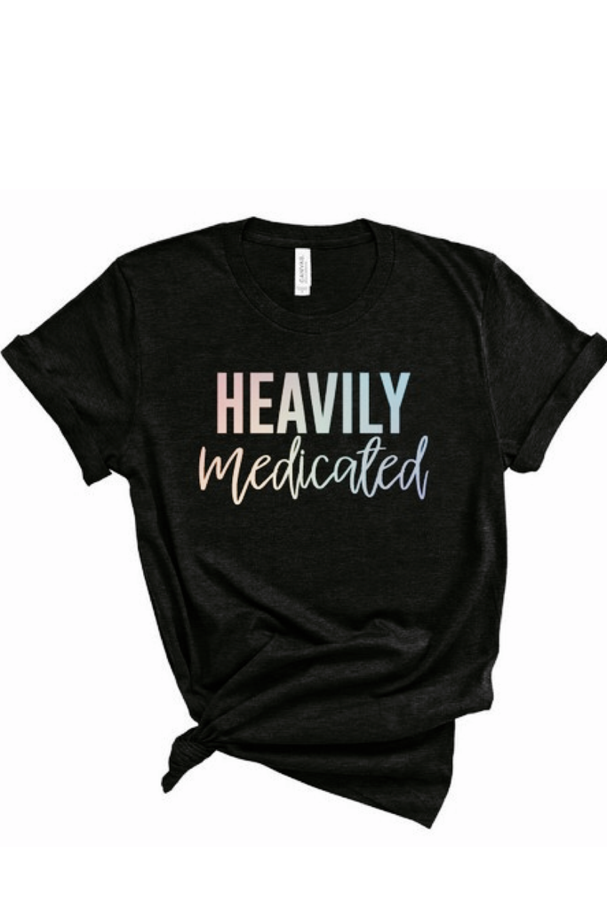 Heavily Medicated Holographic Boyfriend Tee | Sweet Caroline Boutique
