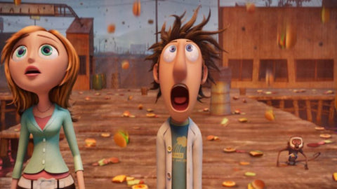 cloudy with a chance of meatballs animated movie burgers falling from sky