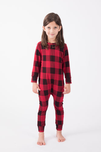 Kids Holiday Plaid Romper