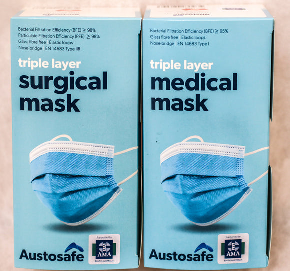 Austosafe Level 2 Surgical Masks - 1000 Masks