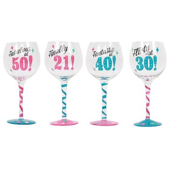 Milestone Birthday Wine Glass