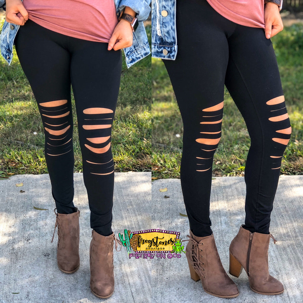 Distressed Leggings-black