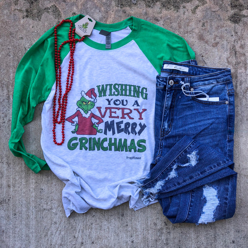 Wishing you a very merry Grinchmas raglan