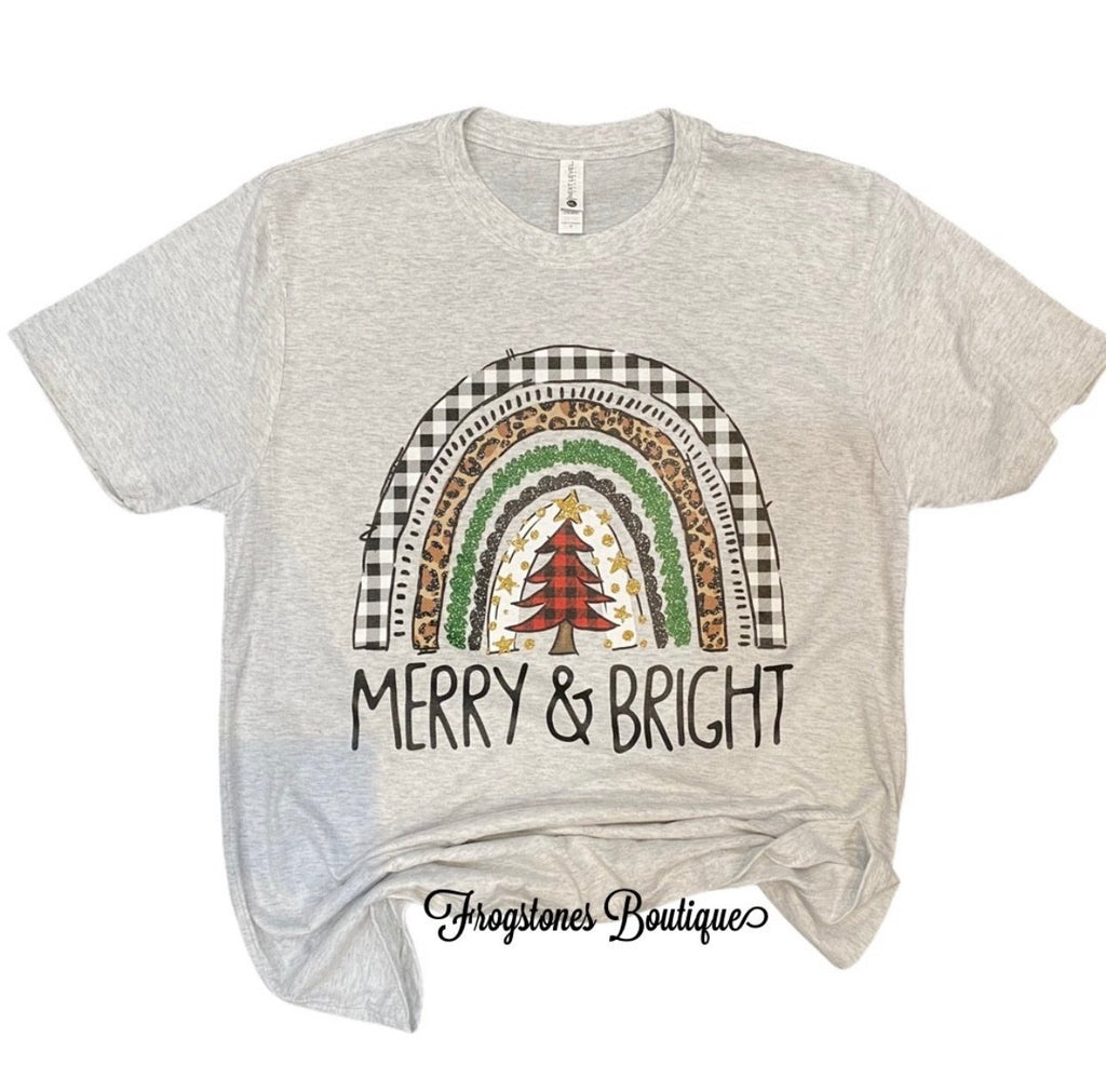 Merry and bright rainbow tee