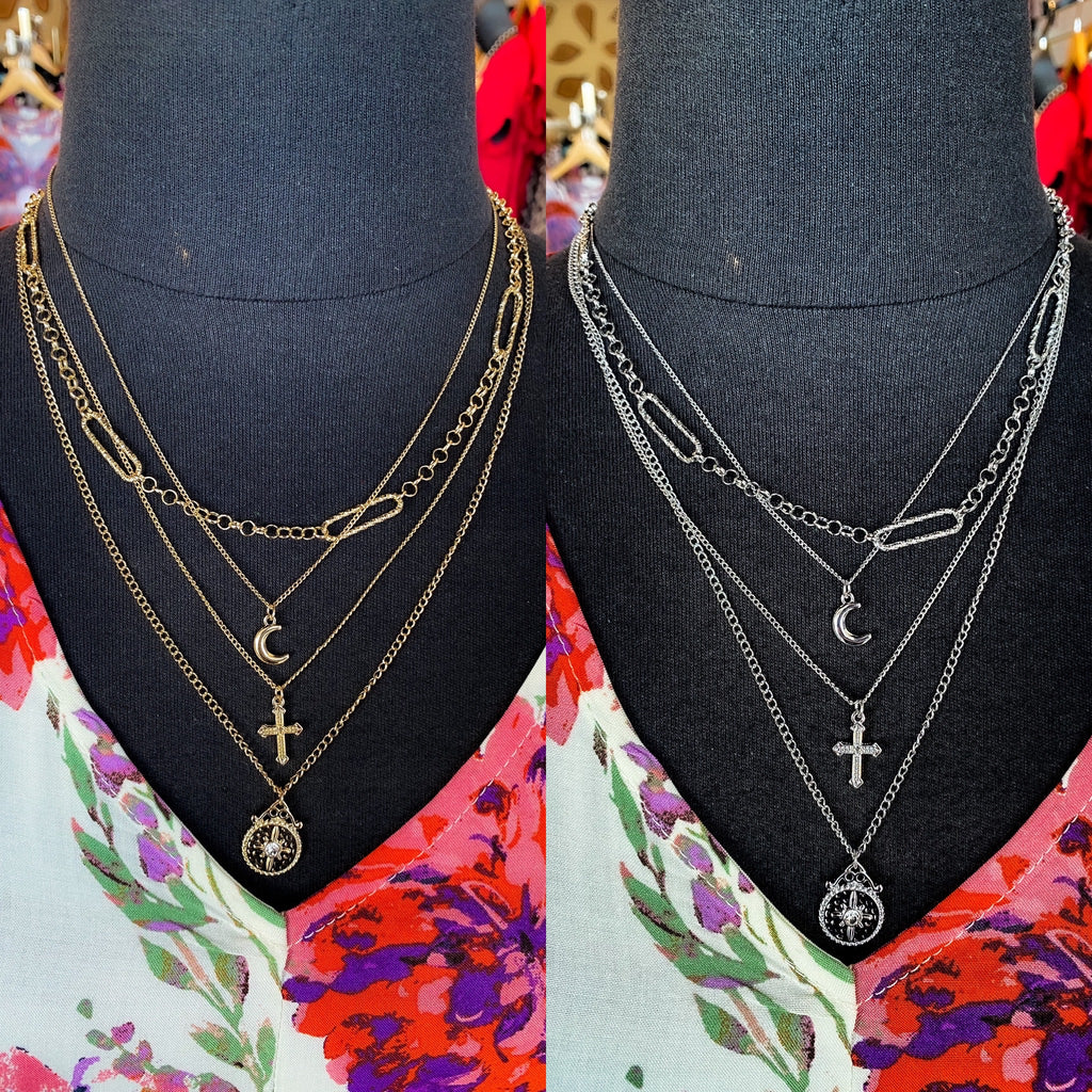 Layered Gypsy Necklace- Moon Necklace - Cross Necklace- 3 Layered Necklace- Available in 2 Colors