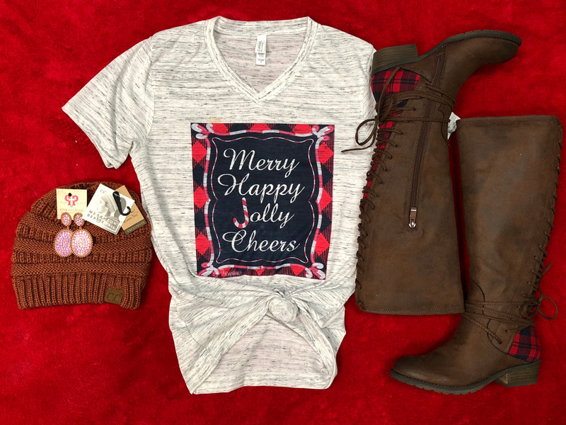 Merry happy jolly cheers tee