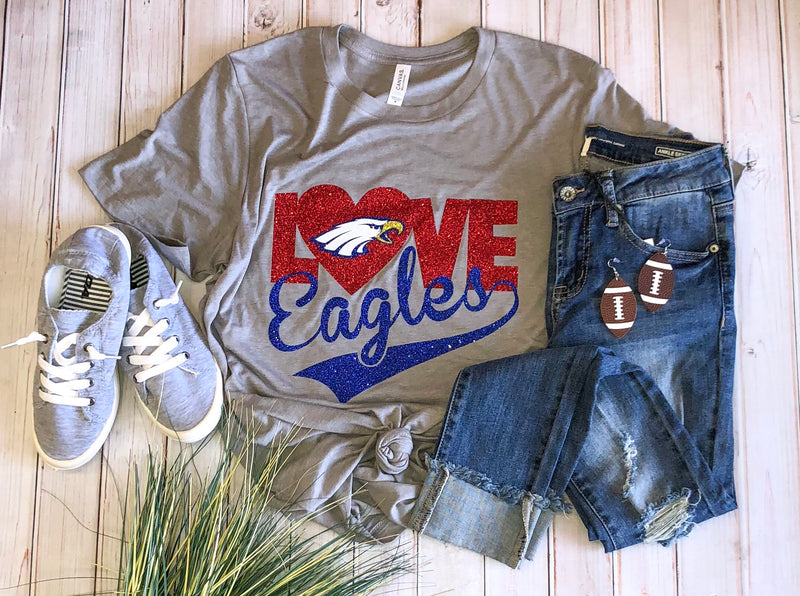 Love eagles gray tee