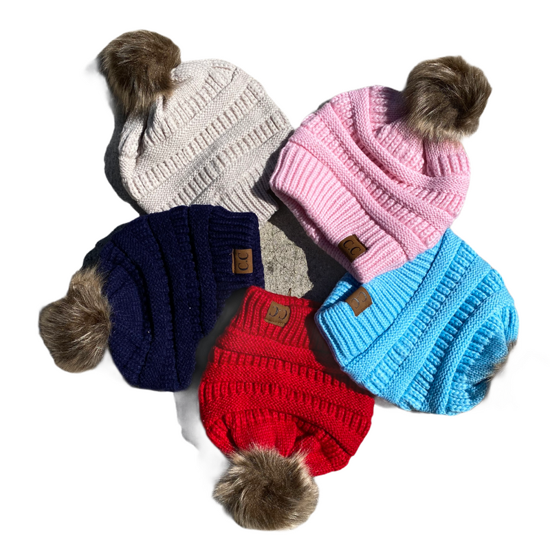 CC pom pom knit beanie (other colors)