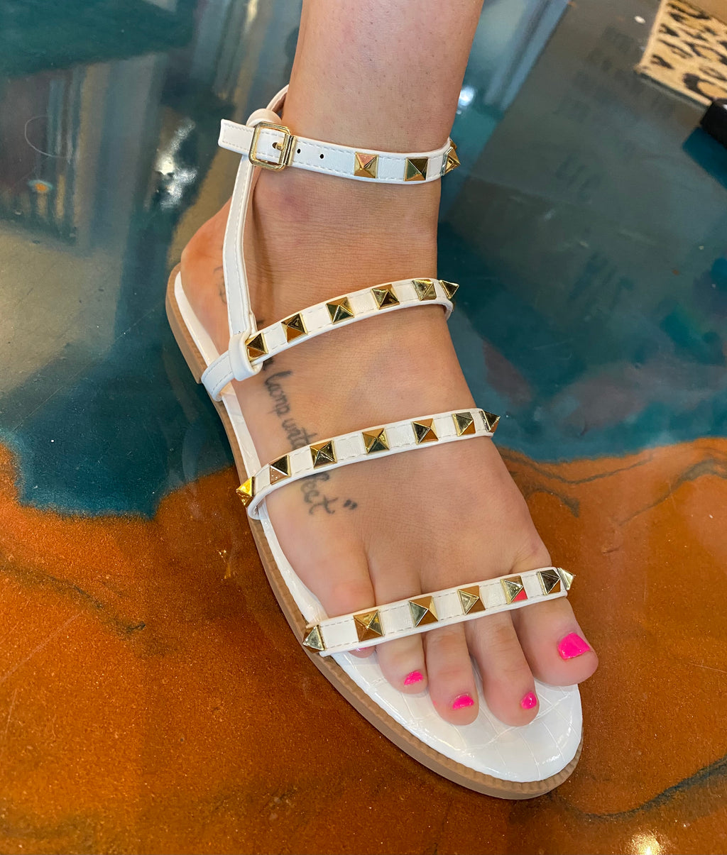 Lacey Sandals-White-Studded-Strappy