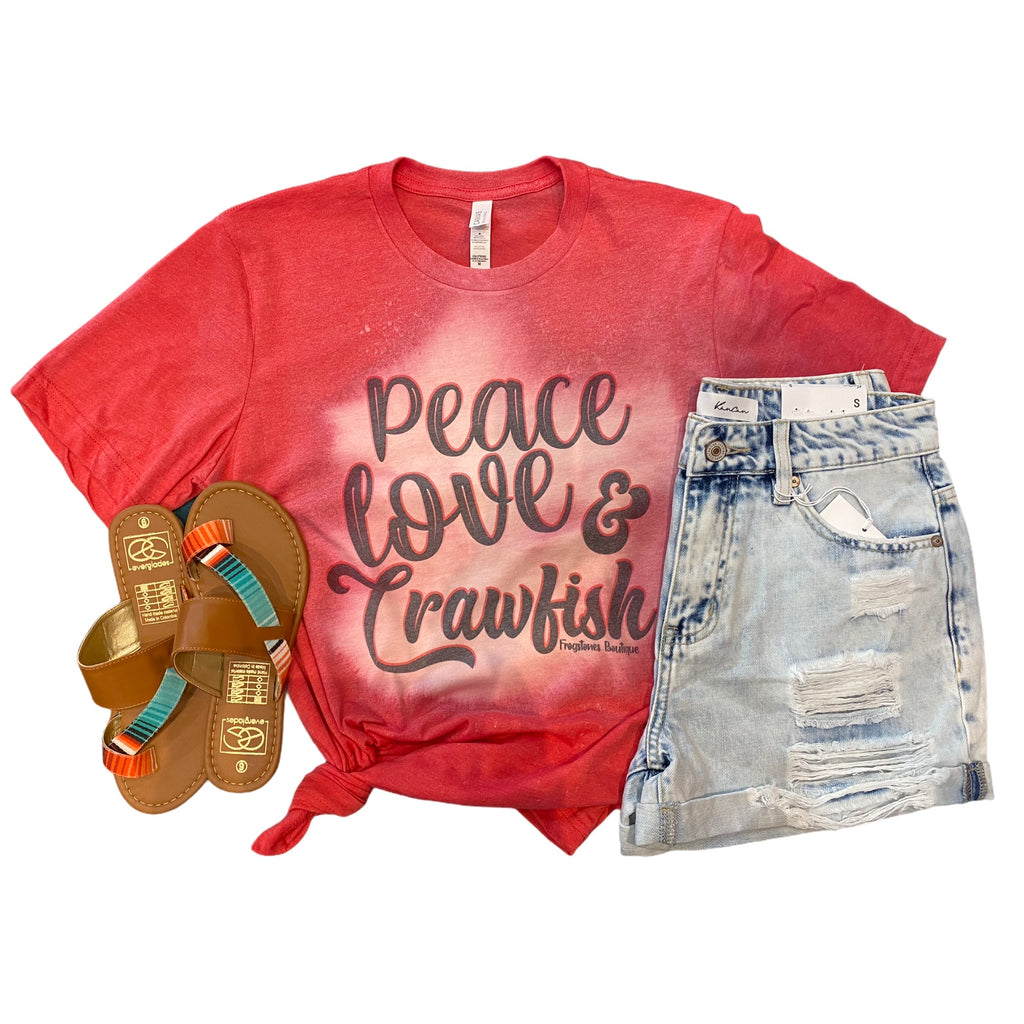 Peace Love & Crawfish Tee- Crawfish shirts - Bleached Tee- Crawfish apparel