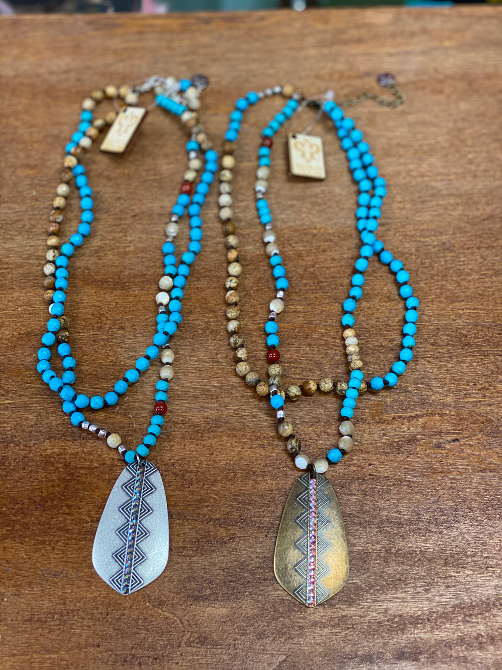 Tribal Diamond teardrop necklace (other colors)