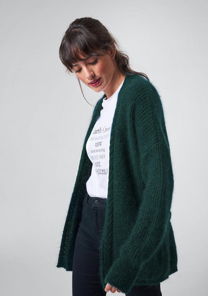 Strick-Cardigan mit Seide und Mohair in Forest-Green