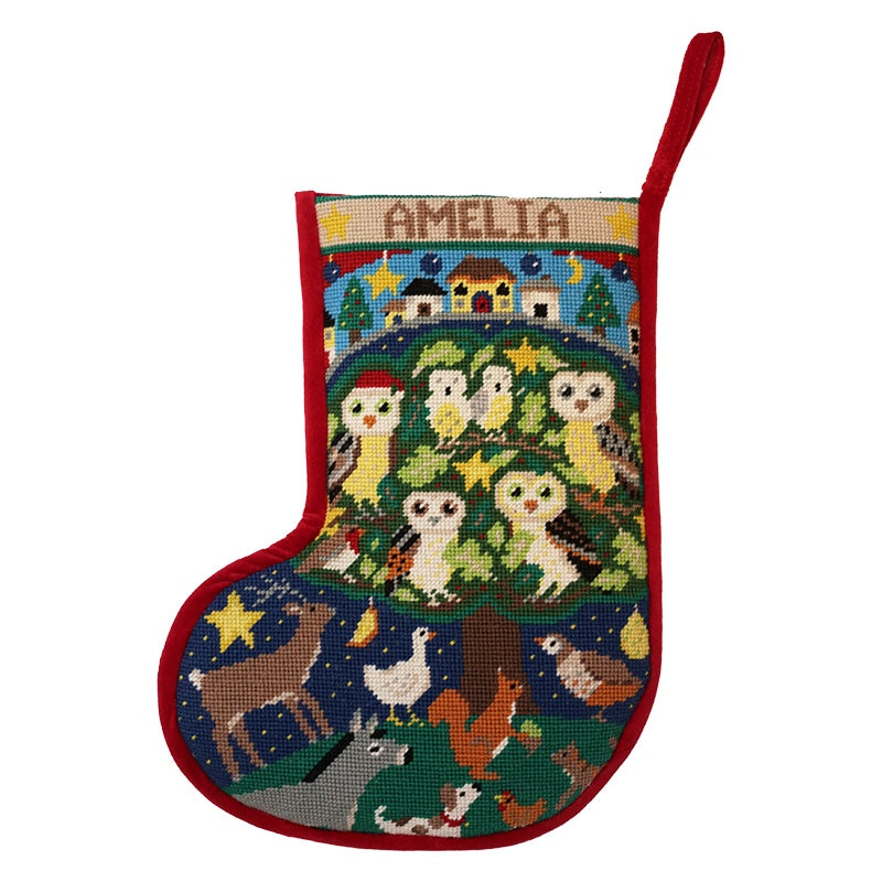 Woodland Owls Christmas Stocking