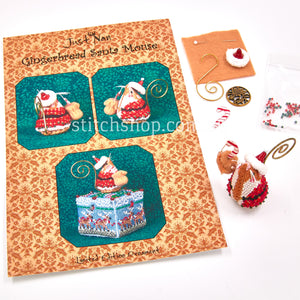 Gingerbread Santa Mouse with Linen - Default Title (712214016158L)