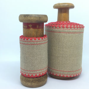 Linen Band (red scallop) Natural