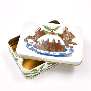 Thornback & Peel Christmas Rabbit & Pudding Small Rectangle Tin - Default Title (TPX3186)