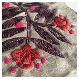 Wool Flowers: Wool Embroidery on Linen