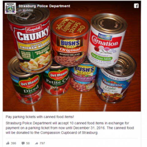 A Town in Virginia is Now Allowing Residents to Pay Parking Tickets by Donating Canned Goods
