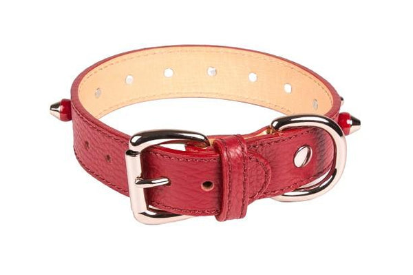 Collars - Studded Collar In Red Leather
