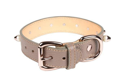 Collars - Studded Collar In Taupe Leather