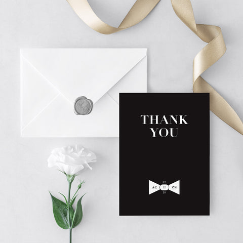 Black Tie Photo Thank You Cards