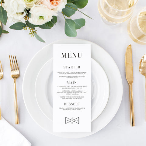 Black Tie Menu Cards