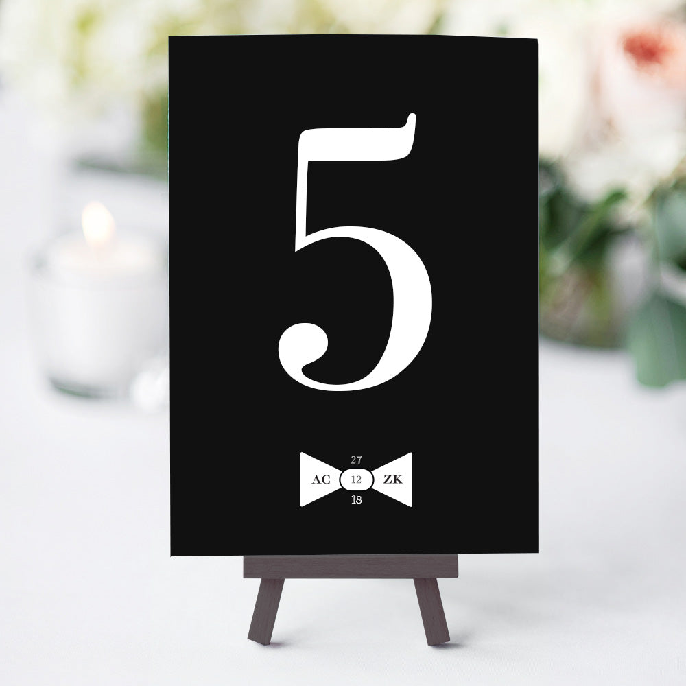 Black Tie Table Numbers