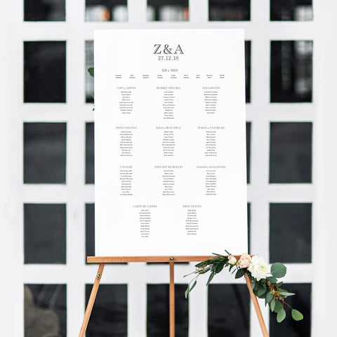 Black Tie Table Plan