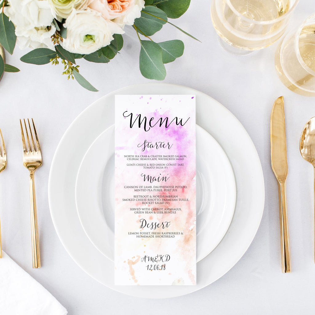 Watercolour Menu Cards
