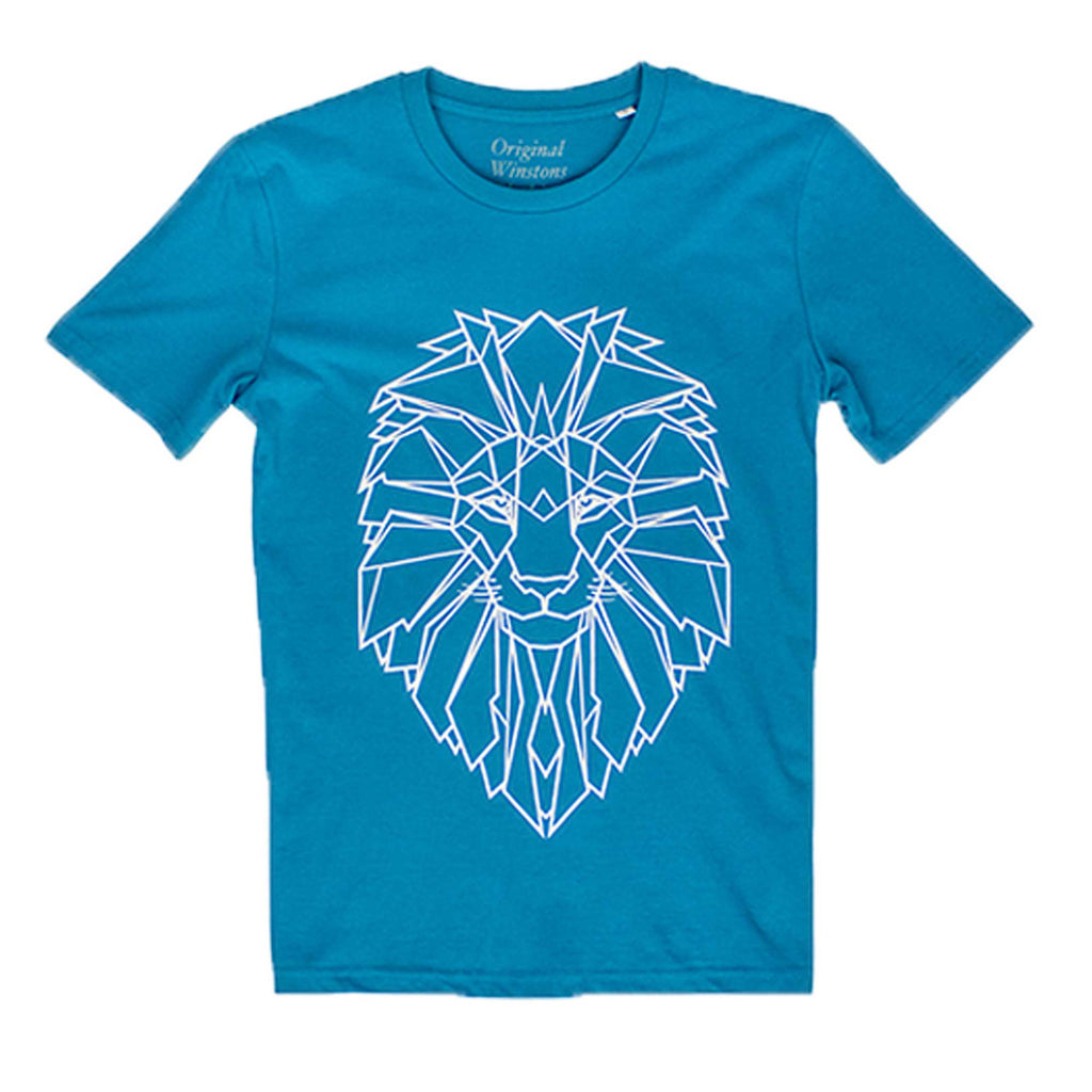 Winstons Lion Men's T-Shirt Sea Blue
