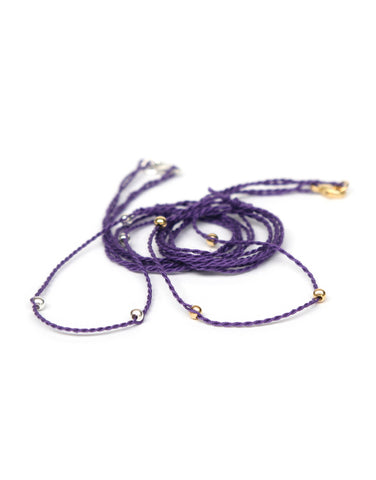 Neck cord in amethyst/gold