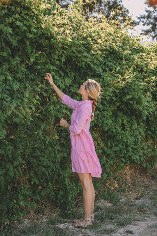 PRE-ORDER: IRIE TIERED MINI ZARI DRESS - HIBISCUS PINK (APRIL DELIVERY)