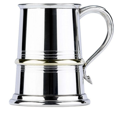 Brass Rim Pewter Pint Tankard - Bracknell Engraving & Trophy Services