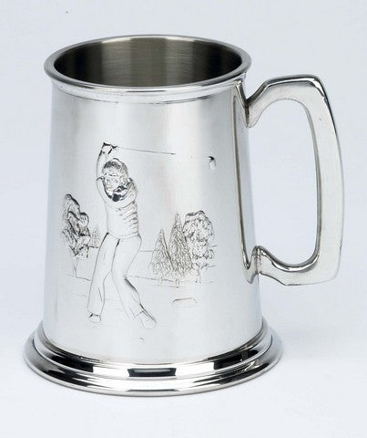 Golf Scene Pewter Pint Tankard - Bracknell Engraving & Trophy Services