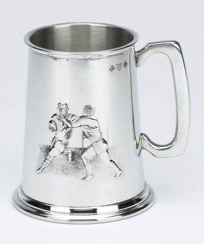 Rugby Scene Pewter Pint Tankard