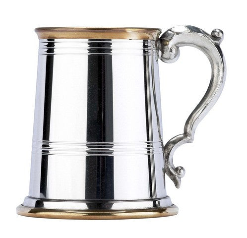 Brass Edged Pewter Pint Tankard