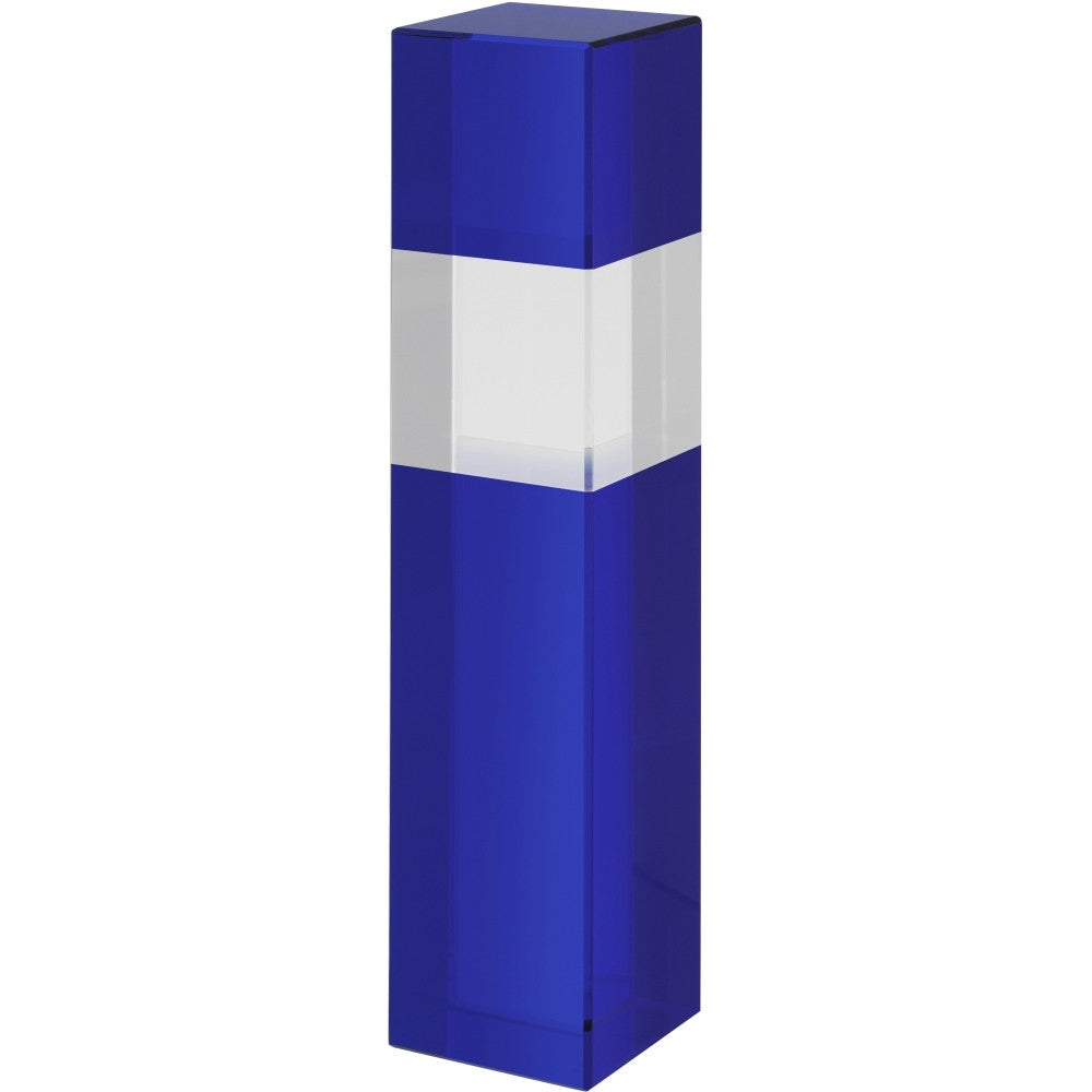 Blue and Clear Crystal Column - Bracknell Engraving & Trophy Services