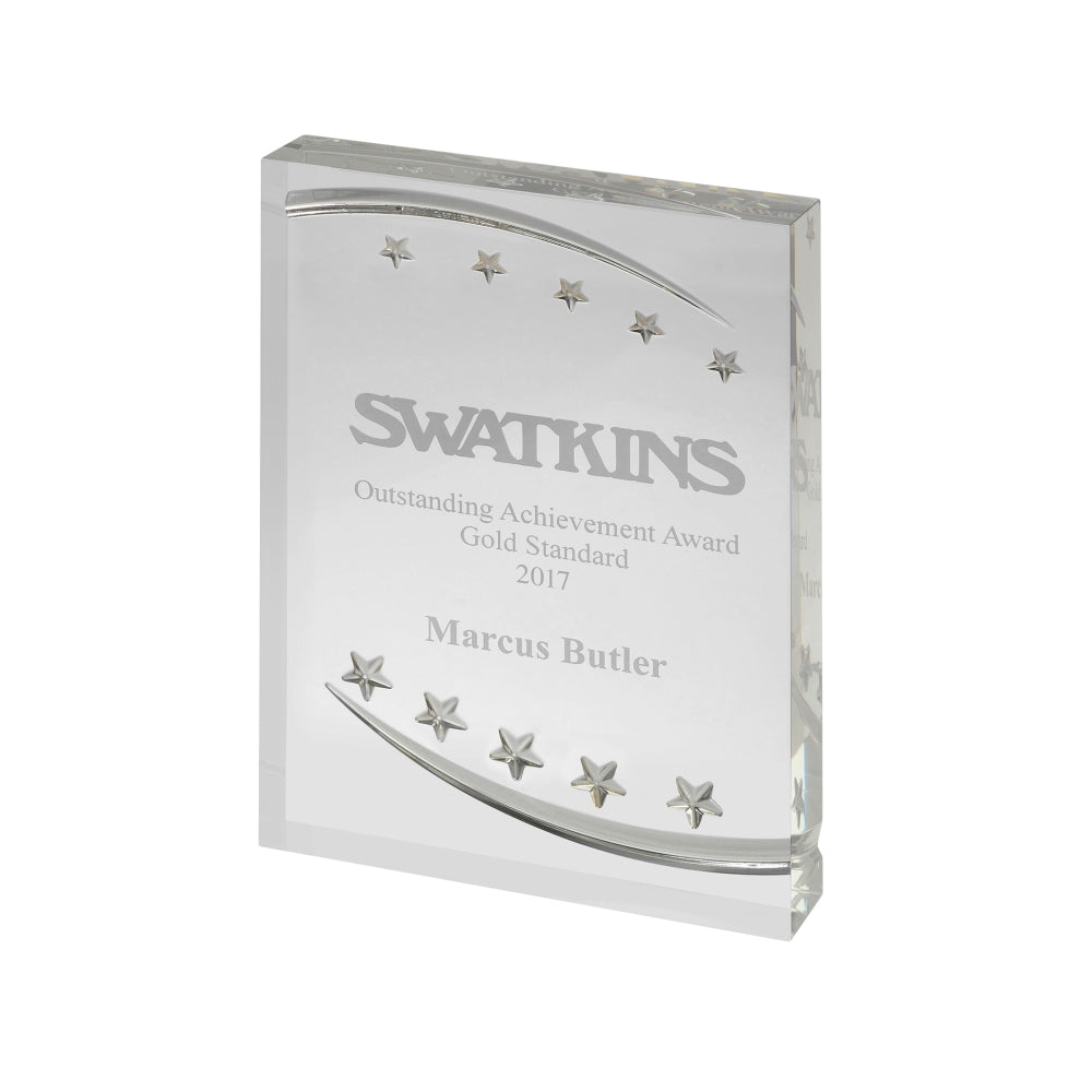 Embossed Stars Acrylic Award - Bracknell Engraving & Trophy Services