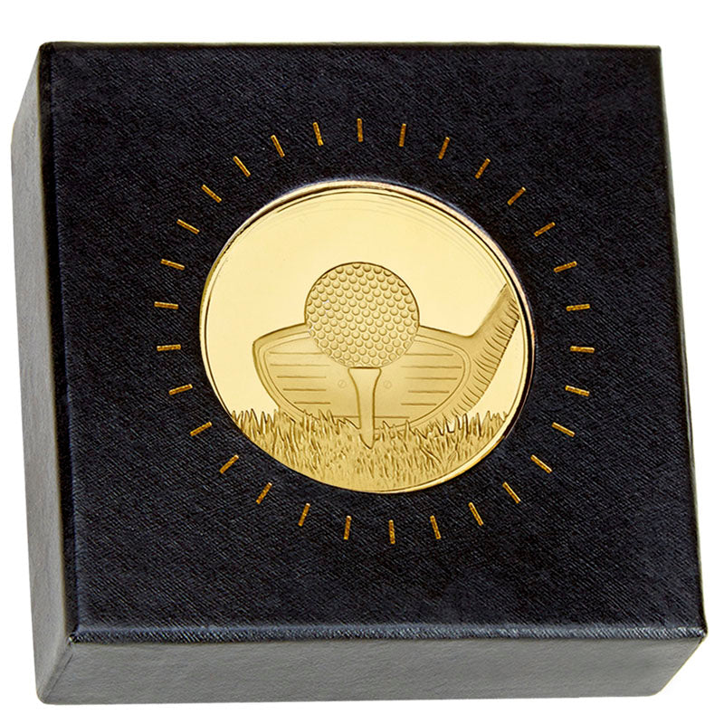 Frosted Glacier Club Golf Medal in Case and Box - Bracknell Engraving & Trophy Services