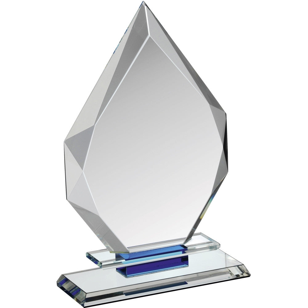 Clear & Blue Crystal Diamond Award - Bracknell Engraving & Trophy Services