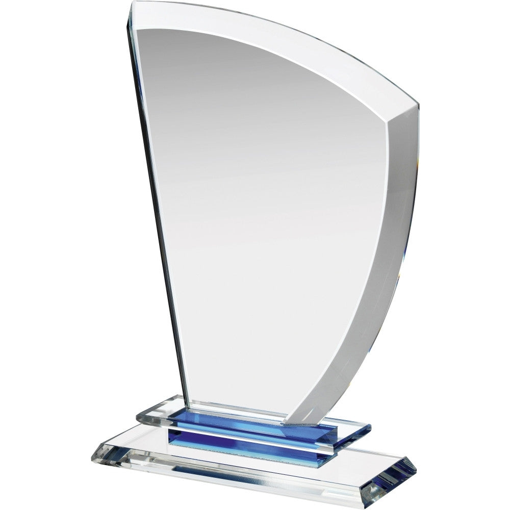 Clear & Blue Crystal Wave Award - Bracknell Engraving & Trophy Services