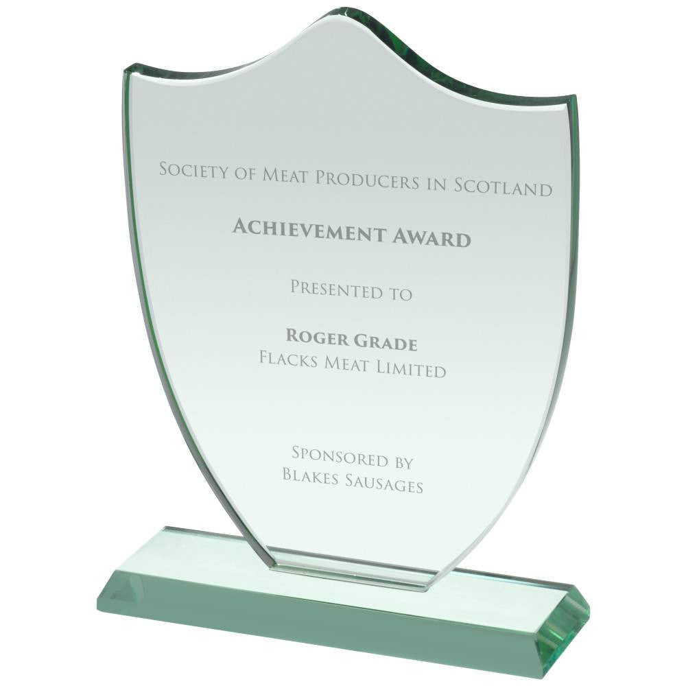 HC039 Shield Jade Glass Award - Bracknell Engraving & Trophy Services