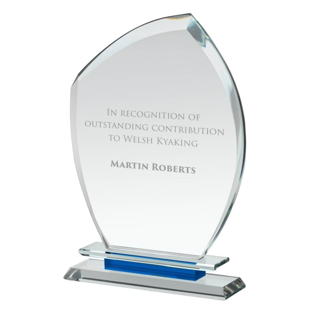 Clear & Blue Crystal Crest Award - Bracknell Engraving & Trophy Services