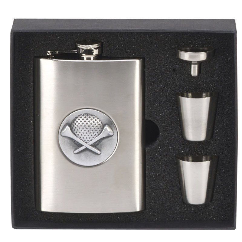 8oz Golf Hip Flask in Presentation Box - Bracknell Engraving & Trophy Services