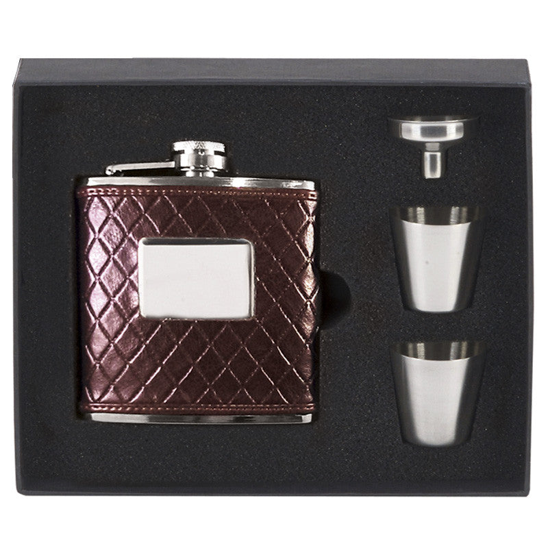 Red Hip Flask in Presentation Box - Bracknell Engraving & Trophy Services