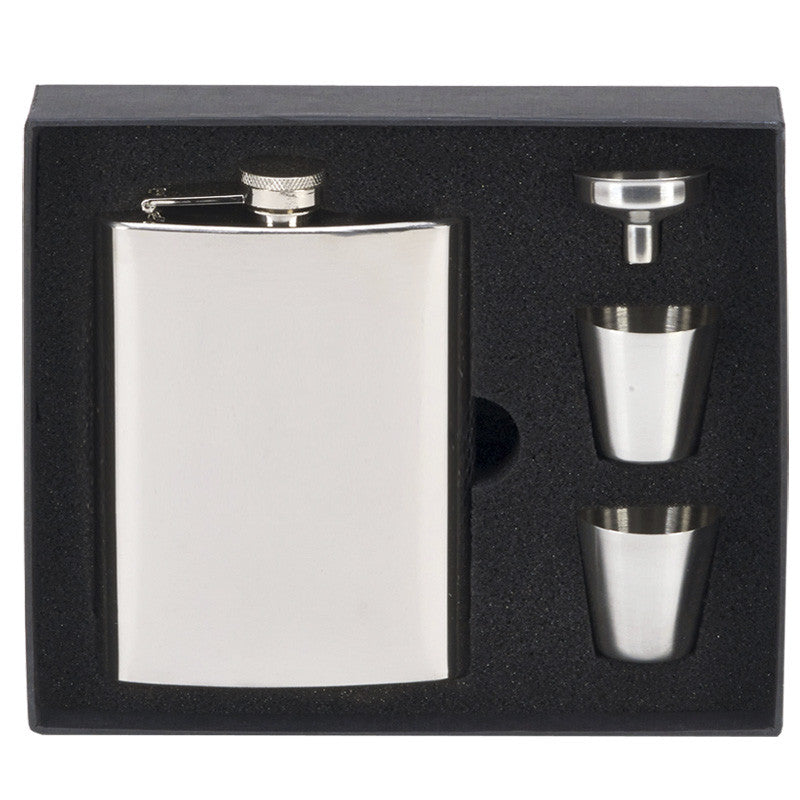 8oz Steel Hip Flask with Cups