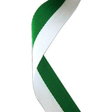 Green & White Medal Ribbon - Bracknell Engraving & Trophy Services