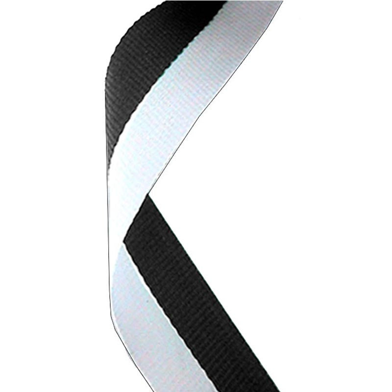 Black & White Medal Ribbon - Bracknell Engraving & Trophy Services